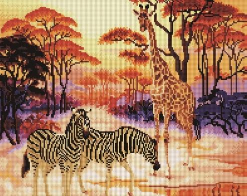 Алмазная мозаика 40x50 Африканский пейзаж с зебрами и жирафом