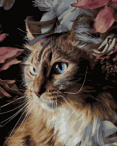 Картина по номерам 40x50 Кошечка в цветочках