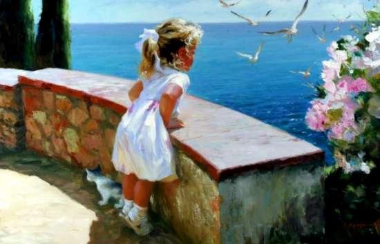 Картина по номерам 40x50 Девочка и море