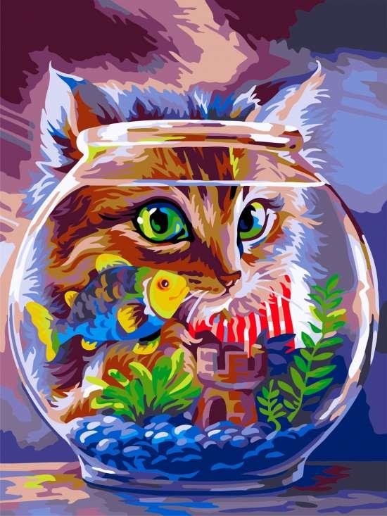 Картина по номерам 30x40 Кот и рыбка в аквариуме